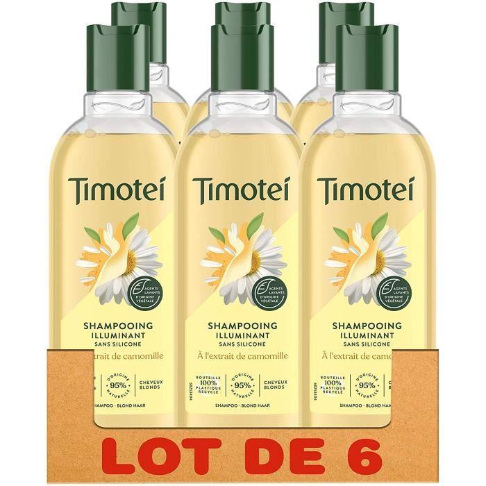 Timotei Shampoing illuminant Camomille, Cheveux Blonds Naturels ou Méchés, Ingrédients d'Origine Naturels, Lot de 6x300ml