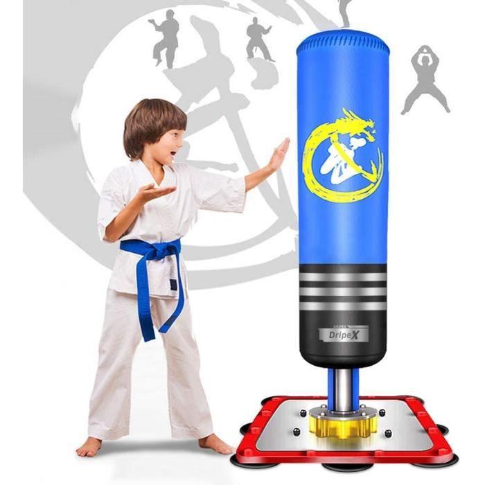 Dripex Sac de Frappe Enfant Sac de Boxe sur Pied Punching Ball 120 cm Cadeau Noël - Bleu
