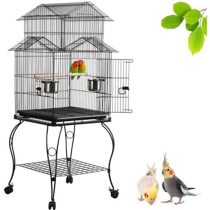 Cage oiseaux sur Roulettes Perruche Perroquet Canari Calopsitte Conure Pinson Inséparable Exterieur 59 x 59 x 139,5 cm