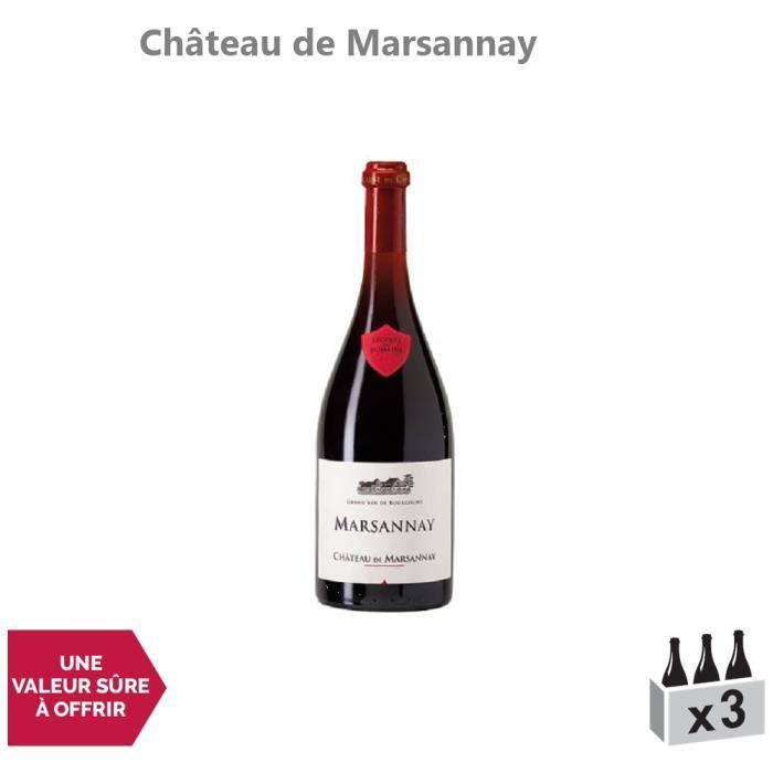 Marsannay Rouge 2014 - Lot de 3x75cl - Château de Marsannay - Vin AOC Rouge de Bourgogne - Cépage Pinot Noir