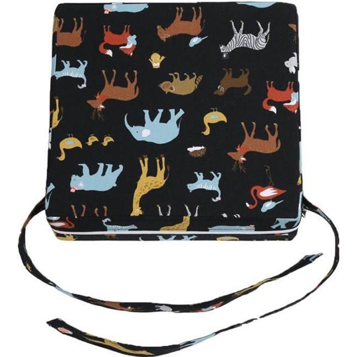 Siège Réhausseur Bébé Siège Enfant-aide Réglable Démontable Portable Coussin de Chaise Booster Animal Noir