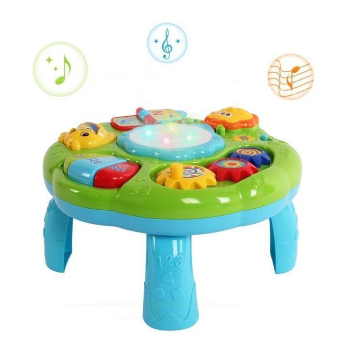 Table de Jouet Musical bébé Multifonctionnel Instruments de Musique avec Lumières par bébé