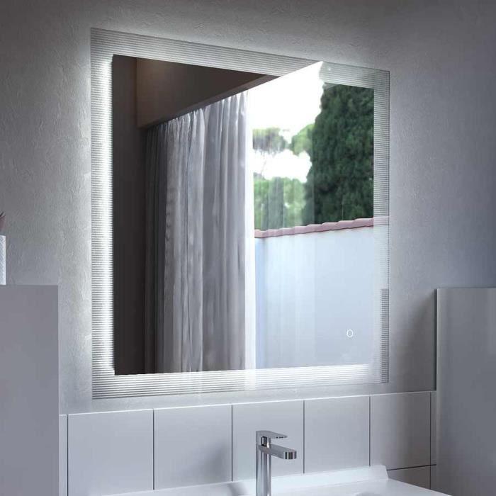 Miroir avec cadre strié CADREA 80x80 cm - éclairage intégré à LED, interrupteur sensitif et film antibuée