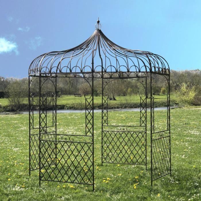 Gloriette Fer Jardin Tonnelle Pergola Fer Jardin Métal Marron ø250 cm 14303-Pergola-Bis