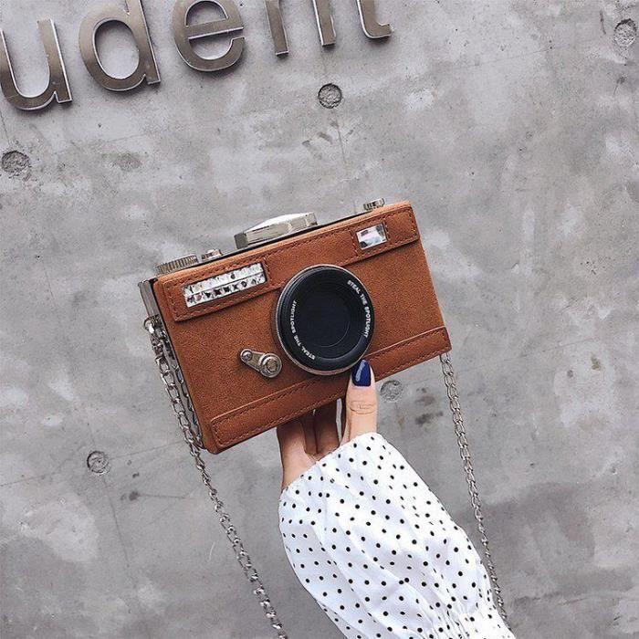 Café -Pochette en Nubuck pour femmes, sac à bandoulière en forme d'appareil photo, Design personnalisé, Mini sacoche pour dames