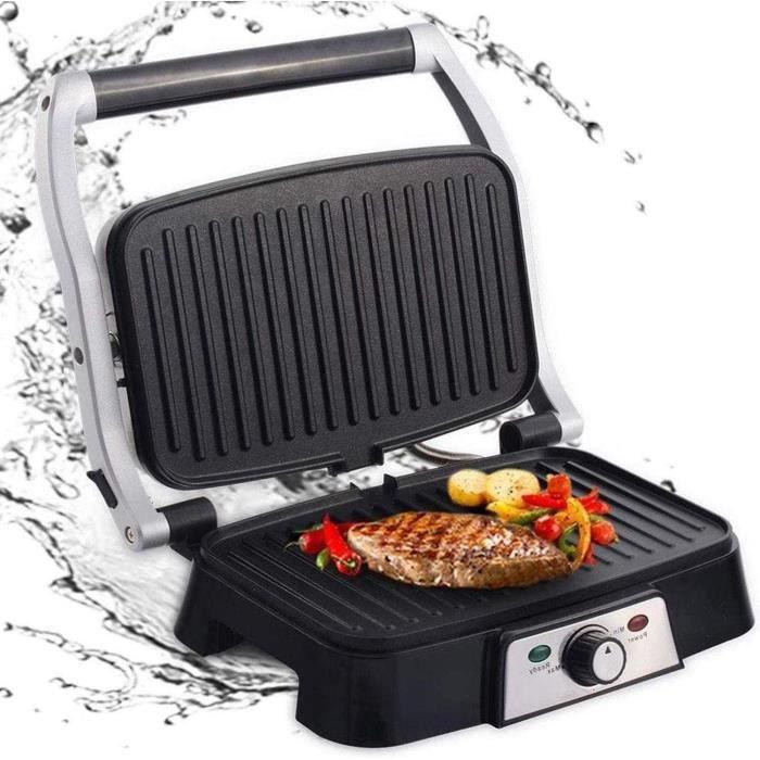 Aigostar Hitte 30HFA - Grill multifonction, plancha, presse à paninis, appareil à sandwichs. 1500W, plaques anti-adhésives, ouvertur