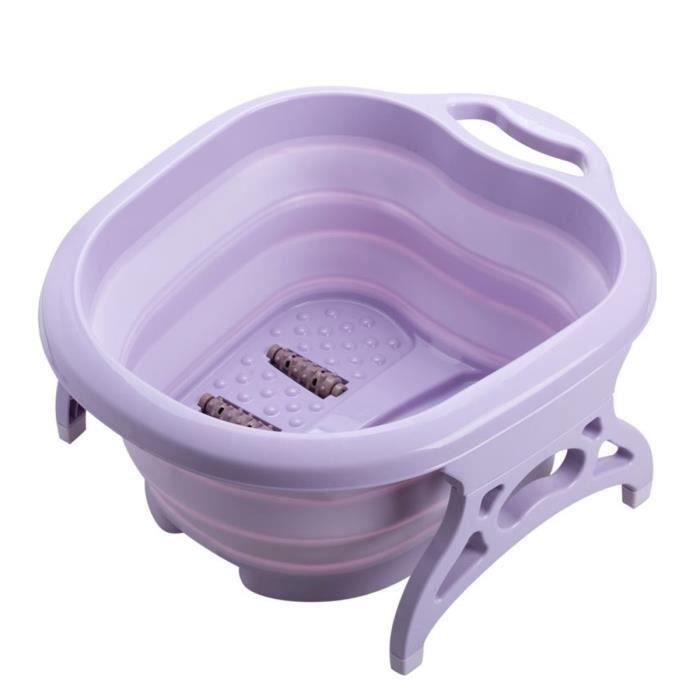 Thalasso Pieds Pliable Bain de Pied Massant en Plastique Baignoire de Bain avec 4 Rouleaux de Massage VIOLET L47164