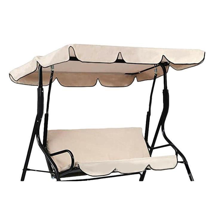Canopée pour Balancelle Exterieur Imperméable Résistant Soleil Toit de Rechange pour Jardin ou Patio (Beige - Deux places)