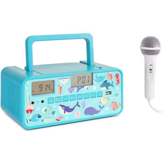 RADIO AUNA Kidsbox - Boombox CD, Lecteur CD, Micro Portable, Bluetooth, Port USB, &eacutecran LCD, sur Piles-Secteur, Prise Cas487
