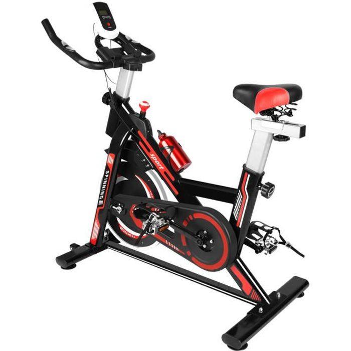 BIGZZIA Vélo d'appartement - Niveaux de résistance réglables - d'Intérieur Cardio - Noir et Rouge