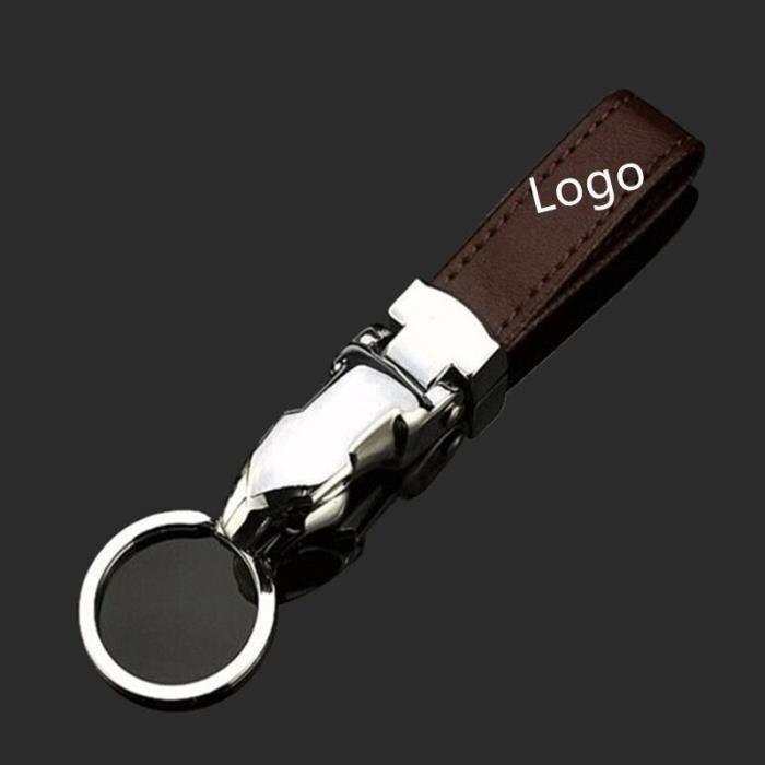 Porte-clés,Porte clés en cuir de style de voiture pour Jaguar Logo X TYPE F TYPE S TYPE XE XF XJ XK XJR XFR XJS XJL - Type Marron