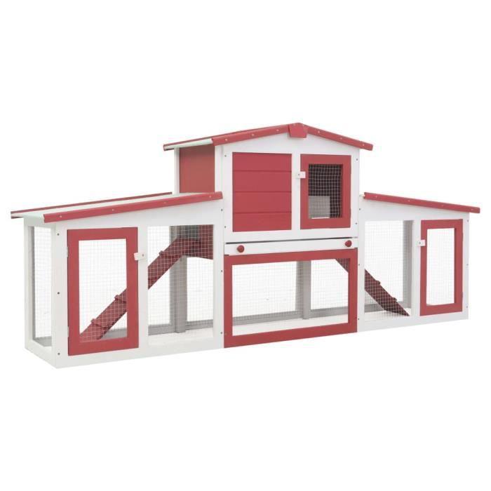 WON-Clapier large d'extérieur Rouge et blanc 204x45x85 cm Bois