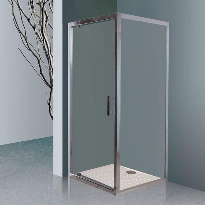 CREAZUR Porte de douche accès d'angle pivotante + paroi fixe Nerina - 80 x 190 cm - Verre trempé 6 mm