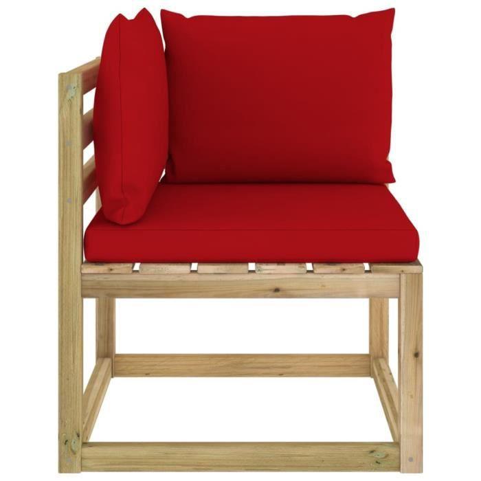 Canapé d'angle de jardin avec coussins Bois imprégné de vert - 31945