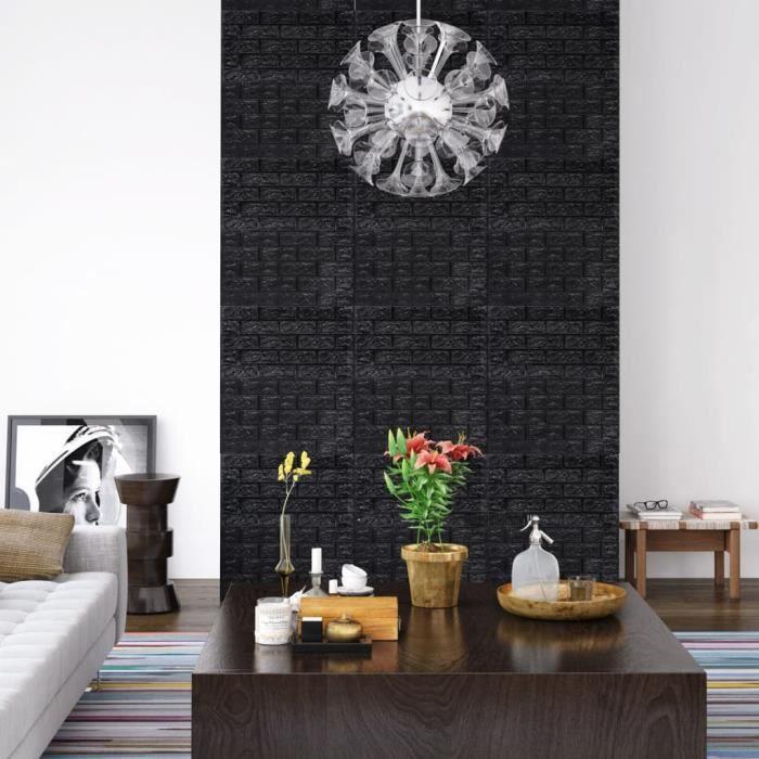 yuehuuroo© Papier peint 3D autoadhésif Briques 20 pcs Noir