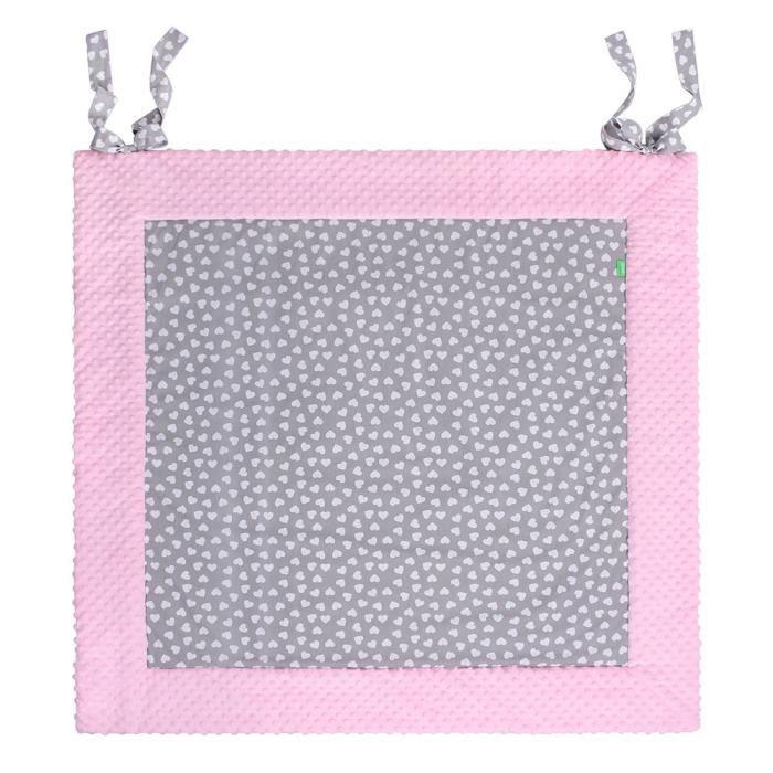 LULANDO Tapis D'éveil, Trois Tailles, Coton/Poliester Trois Tailles Disponibles: 120x120 cm, Couleur: Pink - White Hearts / Grey