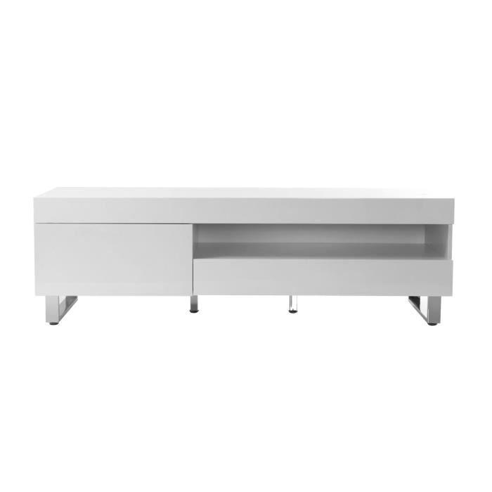 Miliboo - Meuble TV design laqué blanc MELHA