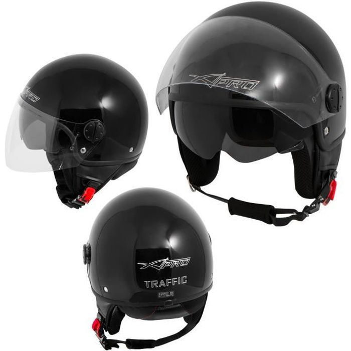Casque Moto Scooter Jet Double Visiere pare-soleil ECE 22 Noir XS