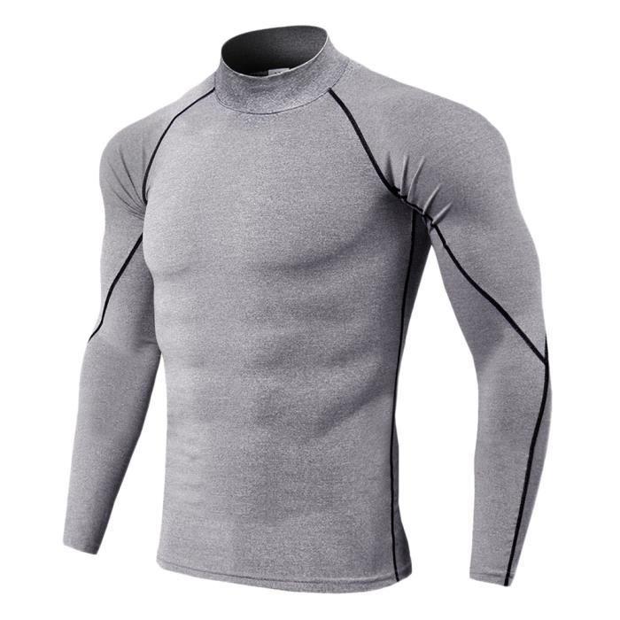 Maillot Compression À Manches Longues Pour Homme Tee Shirt De Sport Séchage Rapide Baselayer Haut Gris 2 M
