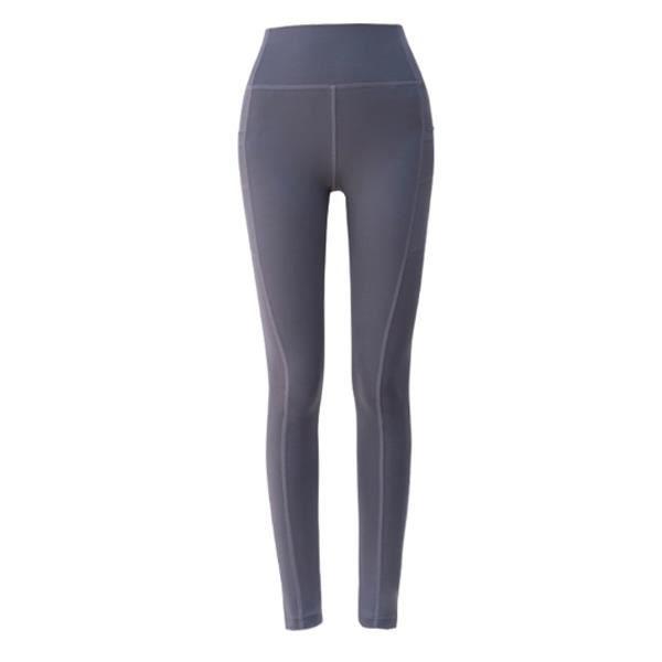 Leggings pour femmes Pantalon de yoga avec poches, taille haute, contrôle du ventre, pantalon slim extensible(Gris XL)