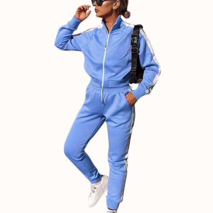 2PCS Ensemble de vêtements pour femmes Tenues de Dames Hauts Pantalons + Casual chemise à manches longues Loungewear Bleu