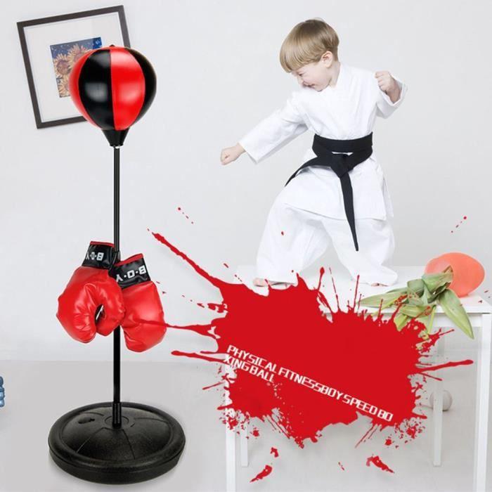 Punching Ball sur Pied - Sac de Frappe Enfants(5-12ans) - Réglable en Hauteur 70-105cm - avec Gants de Boxe
