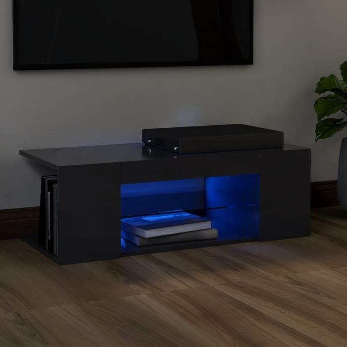 5796lOVE® Meuble TV Vintage Design-Armoire TV avec lumières LED,Banc TV,Table Salon Gris 90x39x30 cm