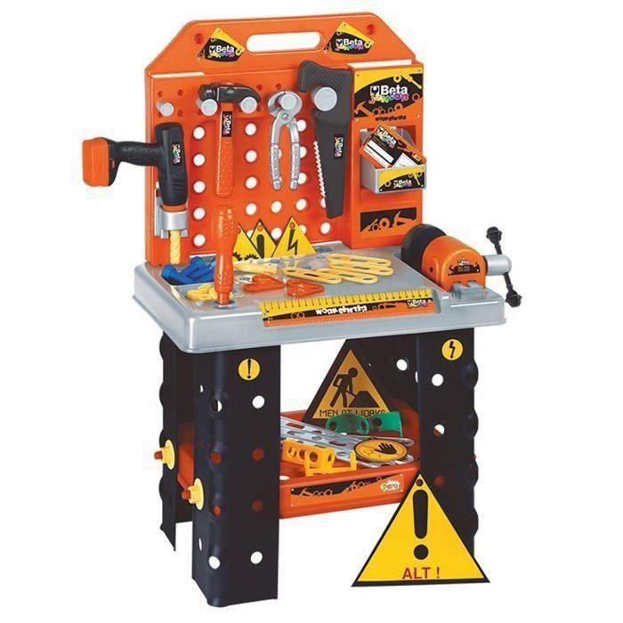 Établi avec accessoires pour enfant  orange-noir - H.74 cm