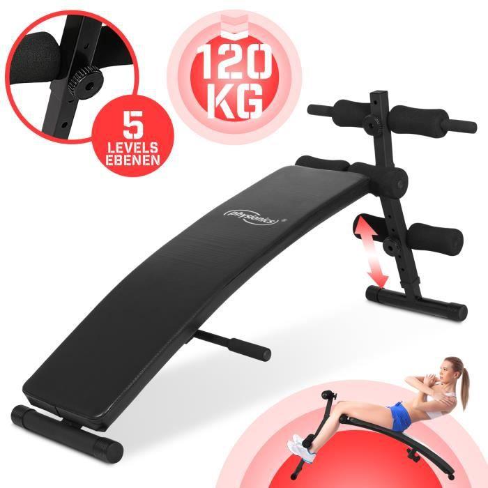Physionics® Banc à Abdominaux - Pliable, Réglable en Hauteur à 5 Positions (60 - 72cm), Noir - Banc de Musculation pour Sit Up, AB