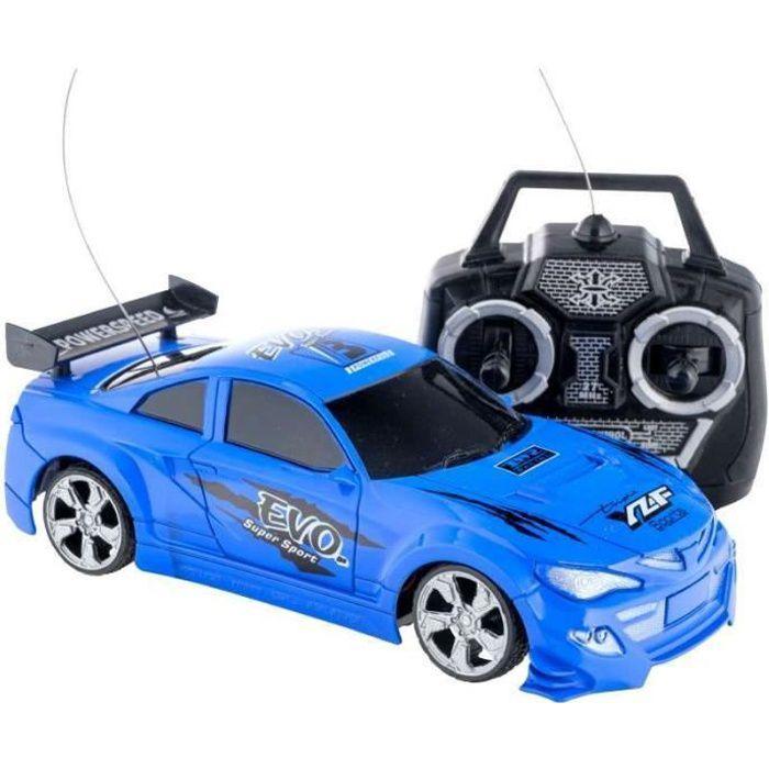 Voiture de course radiocommandée bleue