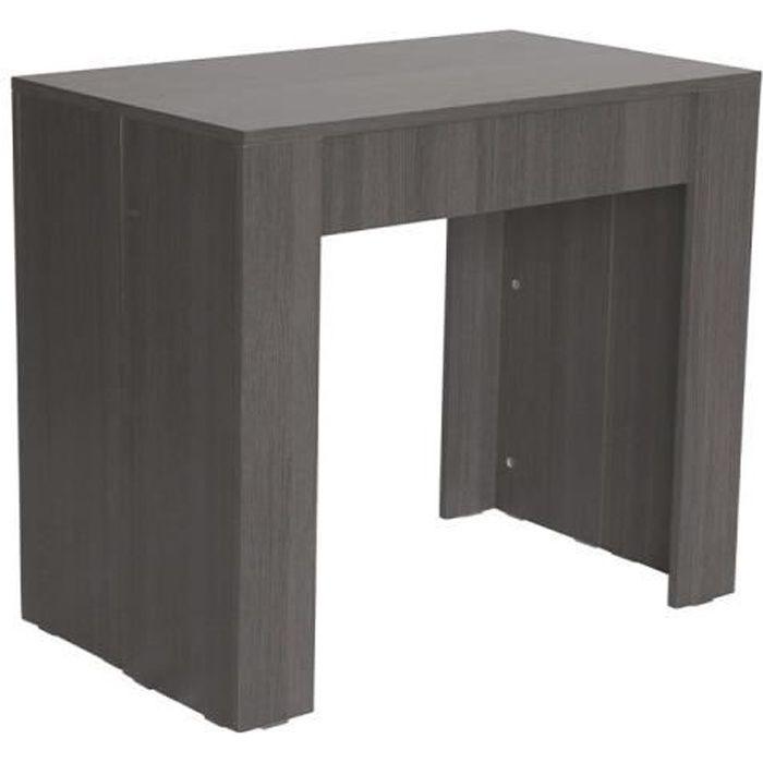 Table console extensible OREBRO + rallonges, jusqu'à 140 cm, couleur gris foncé