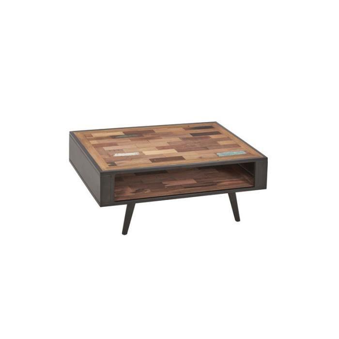 Table basse en bois double plateau - MANHATTAN - L 100 x l 70 x H 40