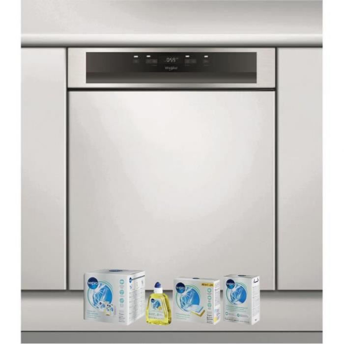 WHIRLPOOL Lave-vaisselle intégrable encastrable bandeau inox 43dB 14 COUVERTS 60cm Natural Dry