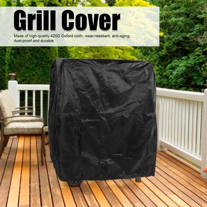 Housse de Gril en Tissu Oxford 420D Housse de Protection Barbecue Extérieure Étanche Anti-Poussière Pliable -ZAT