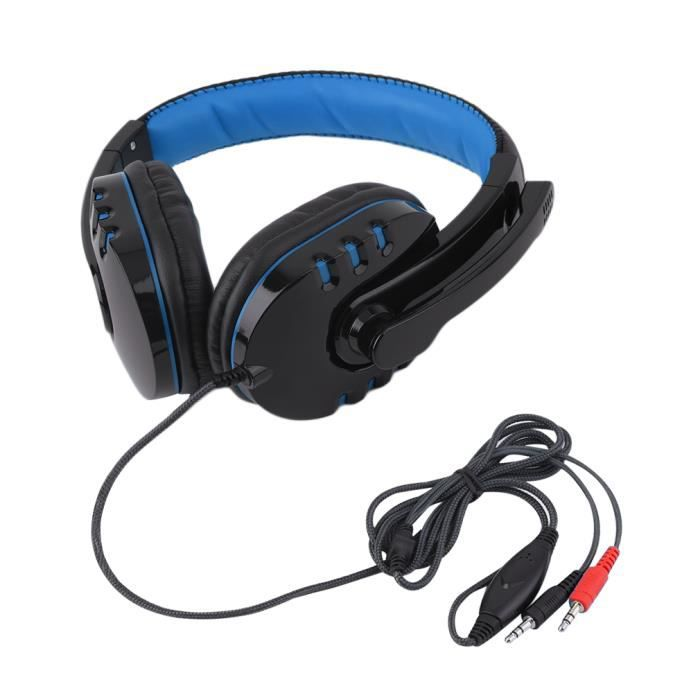 gaming casque surround bandeau casque st r o avec micro pour pc black blue achat. Black Bedroom Furniture Sets. Home Design Ideas