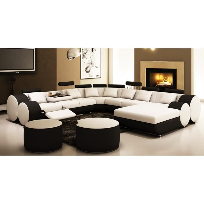 canap panoramique cuir blanc et noir roma achat vente canap sofa divan cdiscount. Black Bedroom Furniture Sets. Home Design Ideas