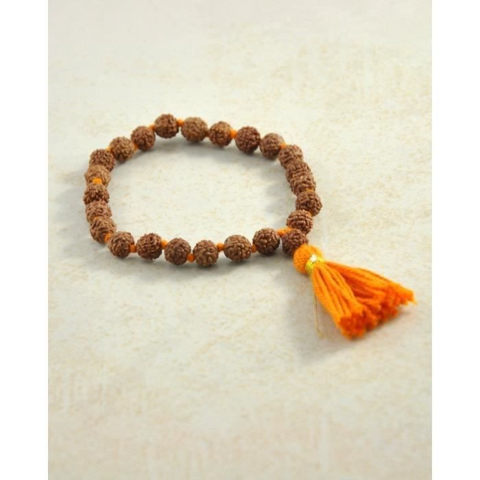 Womens Natural Rudraksha Seeds Wrist Mala Buddhist Prayer Bracelet, Yoga And Meditation Mala Beads C41EH