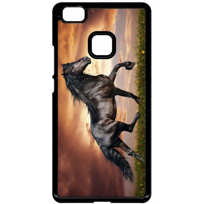 Coque huawei p9 lite magnifique cheval noir