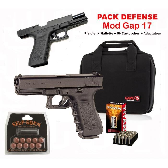 Pistolet alarme pack bruni gap 17 black cal 9mm p a k for Arme defense maison