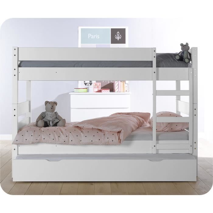lit superpos enfant 1 2 3 couleur blanche avec sommier. Black Bedroom Furniture Sets. Home Design Ideas