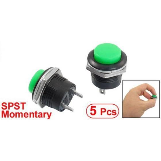 5 pcs AC 125V 1A SPST Interrupteur vert momentané bouton poussoir commutateur