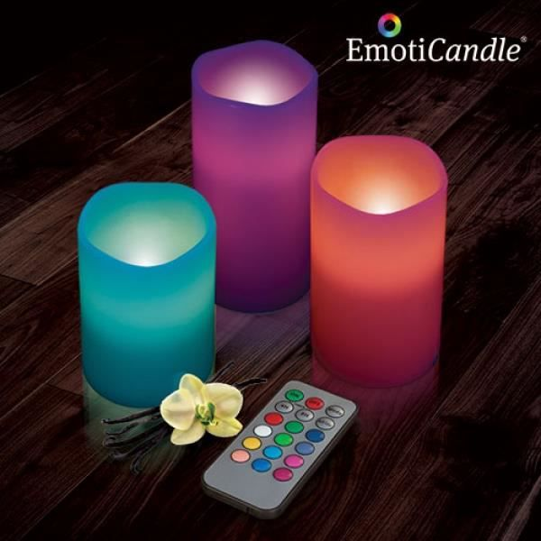 bougies led emoticandle pack de 3 achat vente bougie d corative cdiscount. Black Bedroom Furniture Sets. Home Design Ideas