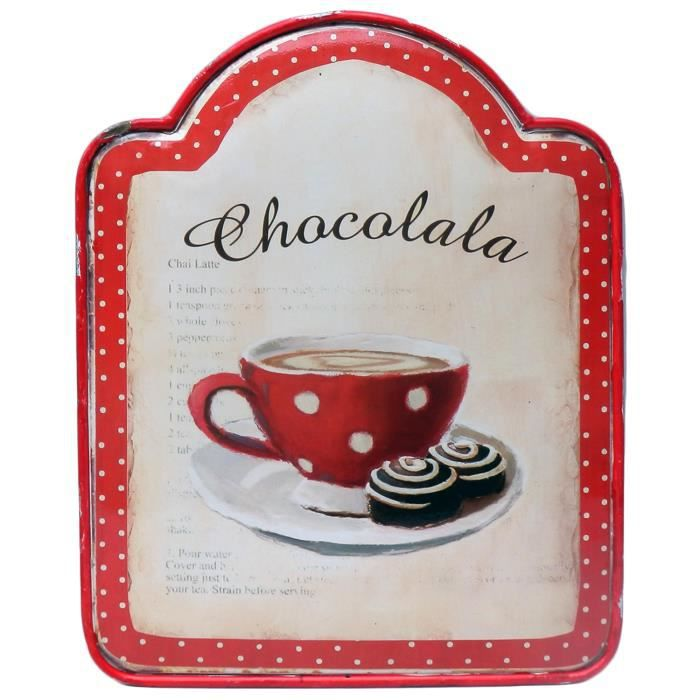 Plaque d corative chocolala en m tal bomb rouge tasse for Plaque murale decorative metal