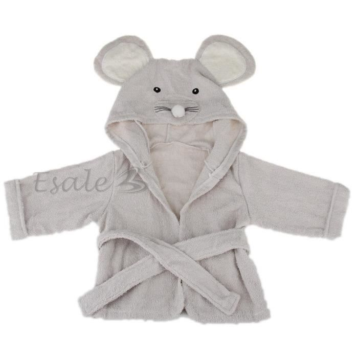 peignoir bain robe de chambre capuche en coton gris. Black Bedroom Furniture Sets. Home Design Ideas