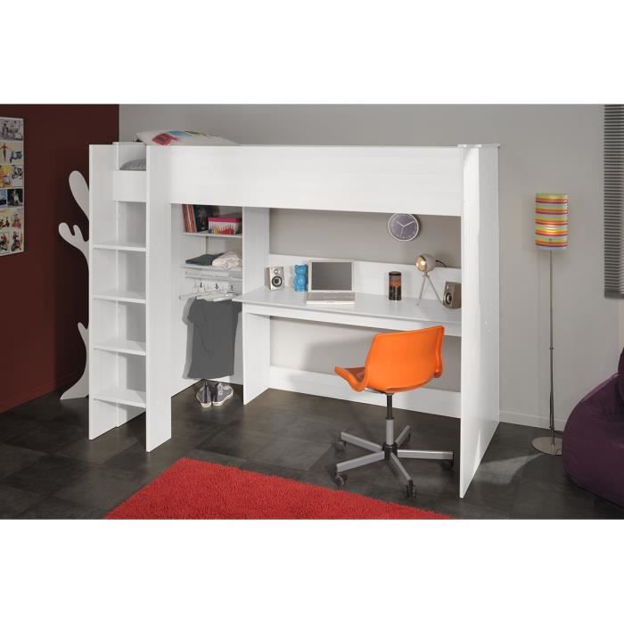 lit sur lev adolescent 90x200 cm blanc lilou achat vente lit combine cdiscount. Black Bedroom Furniture Sets. Home Design Ideas