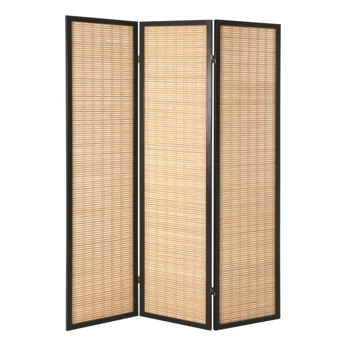 paravent 3 portes cim bambou et bois noir achat vente. Black Bedroom Furniture Sets. Home Design Ideas