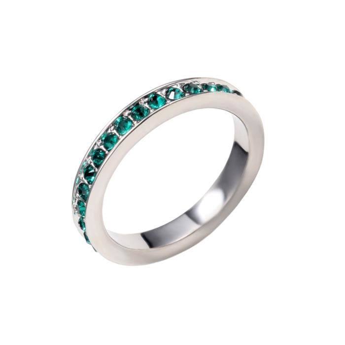 Bague Alliance Cristal de Swarovski Elements Vert - Blue Pearls