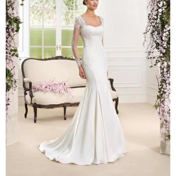 Robe de mariée sirène longue traîne manches