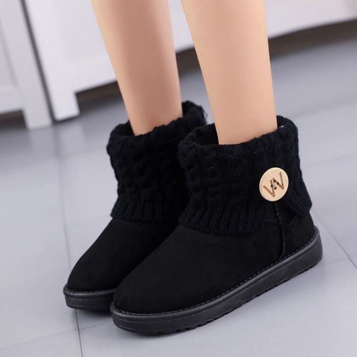 Femmes Chaussures chaudeNoir neige de plates d'hiver Mode Bottes laine Bottines ukZiOPX