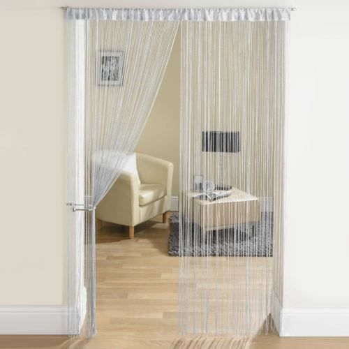 rideau fil paillettes frange spaghetti pour porte fen tre taille 200x100cm argent achat. Black Bedroom Furniture Sets. Home Design Ideas